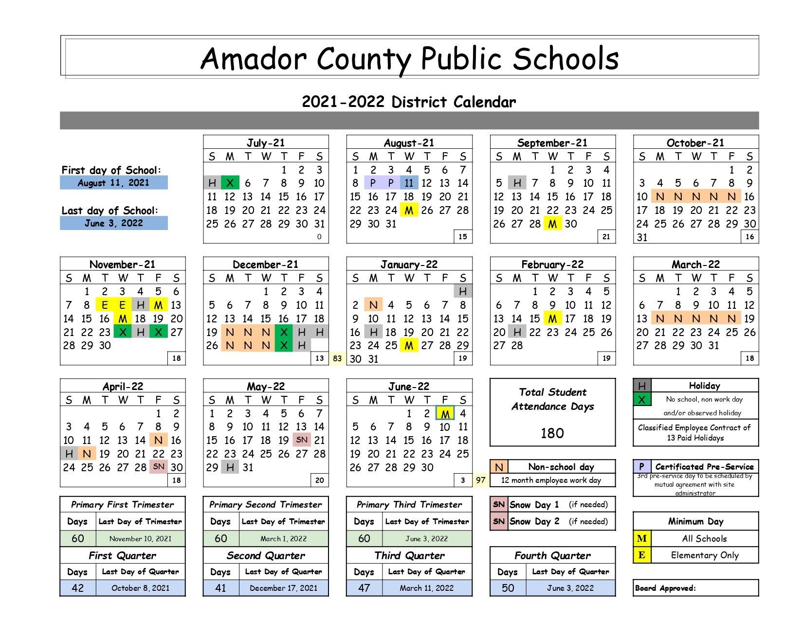 School Calendar page